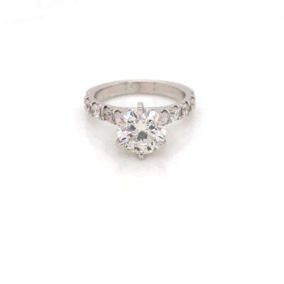 2.80 ctw. Round Brilliant Cut Diamond Ring in 14K White Gold