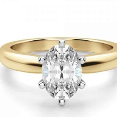 3.03 ct. Oval Cut Diamond Engagement Ring Set in 14k Yellow Gold