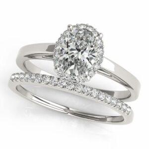 2.77 ctw. Oval Cut Diamond Halo Set Engagement Ring with Diamond Wedding Band