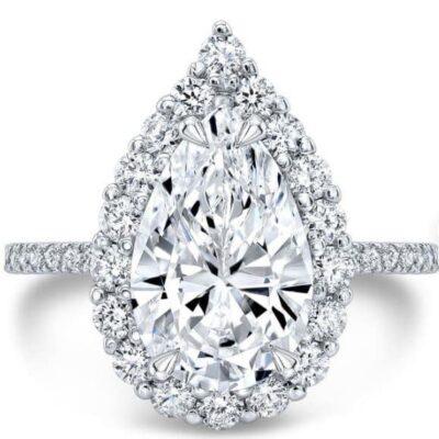 4.27 ctw. Pear Cut Diamond Ring set in 14k White Gold