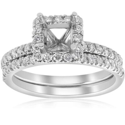 1.05 ctw. Princess Cut Diamond Setting and Matching Diamond Band in 14k White Gold (Center Diamond Not Included)