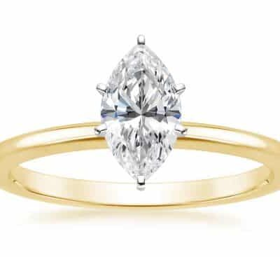 0.85 ct. Marquise Cut Diamond Ring in 14K Yellow Gold