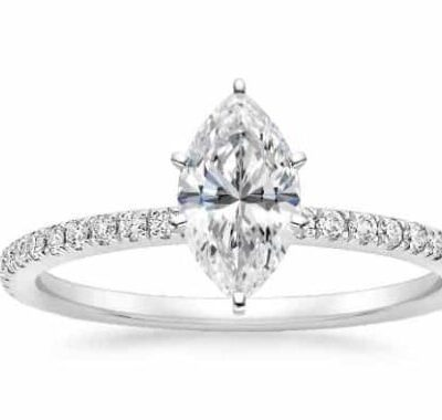 1.22 ctw. Marquise Cut Classic Diamond Engagement Ring in 14K White Gold