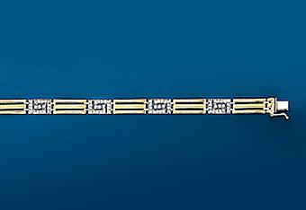 "10Kt 8"" Italian Mens CZ Bracelet"