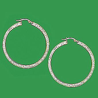 10Kt Hoop CZ Earrings