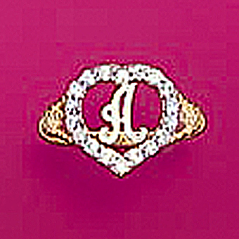 10Kt Yellow Gold Initial Heart CZ Ring