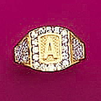 10Kt Yellow Gold Initial CZ Ring