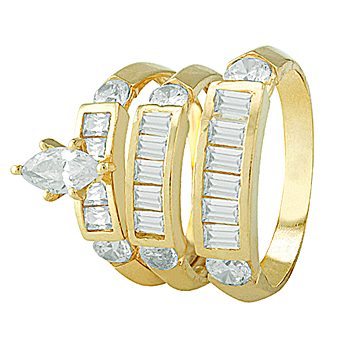 Gold Trio Sets with Marquise Cut CZ Head