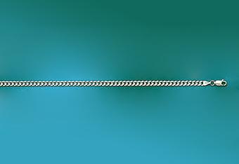 3.5mm 14K White Gold Curb Mens Chain