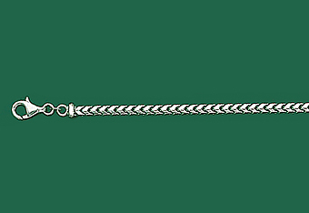 3 mm 14K White Gold Solid Franco Mens Chain