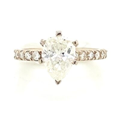1.83 ctw. Pear Cut Diamond Engagement Ring in a French Pavé Setting