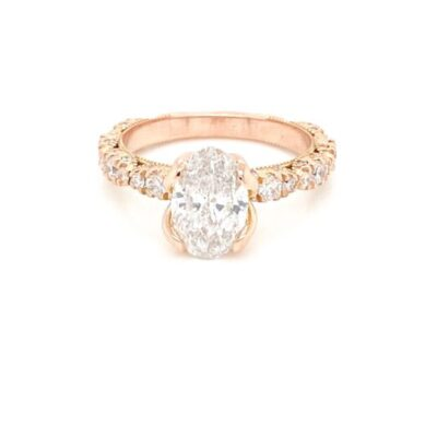 2.04 ctw. Oval Cut Diamond Ring in a Glittering Yellow Gold Flower Setting