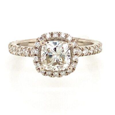 1.82 ctw. Cushion Cut Diamond set in a Diamond Halo of 14K White Gold