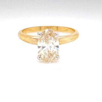 1.73 ct. Oval Cut Diamond Ring set in 14k Yellow Gold