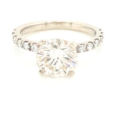 3.32 ctw. Round Brilliant Cut Diamond Ring set in our Best Seller Setting