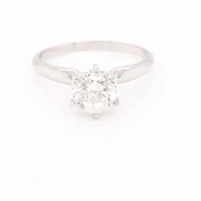 1.05 ct. Round Cut Diamond Solitaire Ring in 14K White Gold