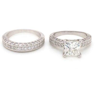 3.06 ctw. Vintage Princess-Cut Diamond Ring with Matching Wedding Band