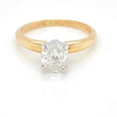 1.01 ct. Oval Cut Diamond Ring set in 14k Yellow Gold