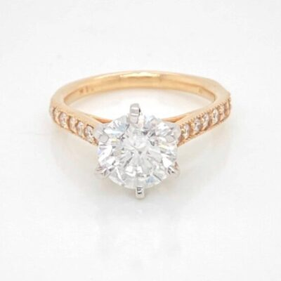 2.42 ctw. Vintage Round Cut Diamond Ring in 14 kt Yellow Gold