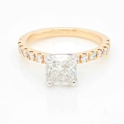 1.94 ctw. Cushion Cut Diamond, Offered in Our Best Seller Setting of 14kt Yellow Gold and Glittering Side Stones