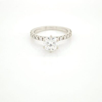1.35 ctw. Round Cut Diamond French Pave Ring in 14K White Gold