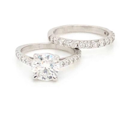 1.80 ctw. Round Brilliant Cut Diamond Engagement Ring set In a French Pave Setting