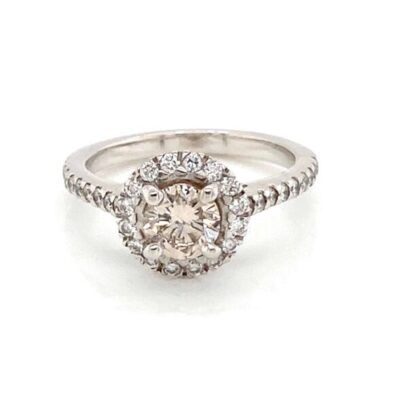 1.46 ctw. Round Cut Diamond Halo Ring in 14k White Gold