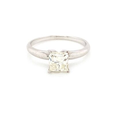0.75 ct. Princess Cut Solitaire Ring in a White Gold Pronged Setting