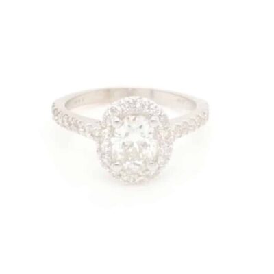 1.85 ctw. Oval Cut Halo Diamond Engagement Ring in 14k White Gold