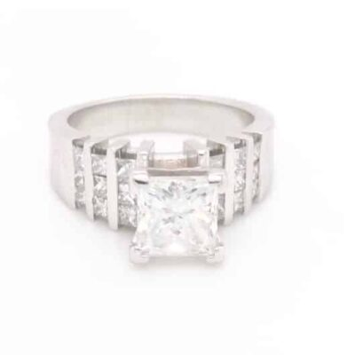 2.35 ctw. Princess Cut Diamond set in a 18k White Gold Setting Surrounded by Diamonds
