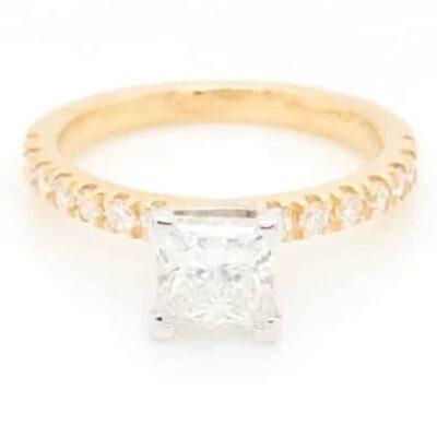 1.85 ctw. Princess Cut Diamond Ring set in a 14K Yellow Gold French Pave Diamond Setting
