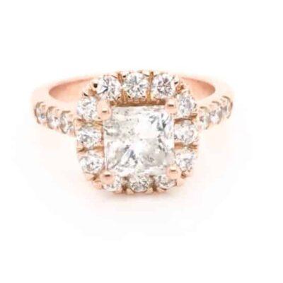 2.25 ctw. Princess Cut Diamond Framed in a 14K Rose Gold Halo