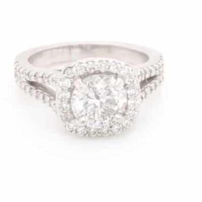 2.42 ctw. Round Brilliant Cut Diamond Halo Ring in 14k White Gold