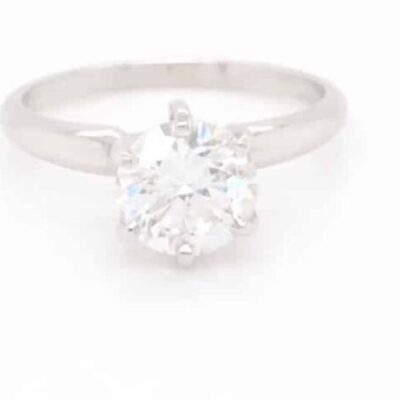 2.03 ct. Round Cut Diamond Solitaire Ring in 14K White Gold