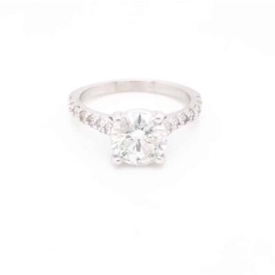 1.90 ctw. Round Cut Diamond set in a Cathedral Ring