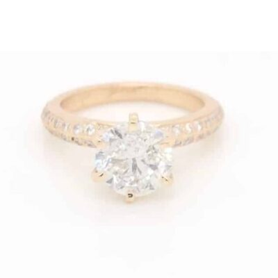 2.35 ctw. Round Brilliant Cut Diamond Micropavé Ring, Offered in 14K Yellow Gold