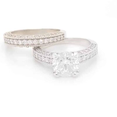 2.76 ctw. Round Cut Diamond Set in Vintage 14 kt White Gold Setting with a Matching Wedding Band