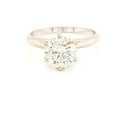 2.26 ct. Round Cut Diamond Engagement Ring in Shimmering 14K White Gold