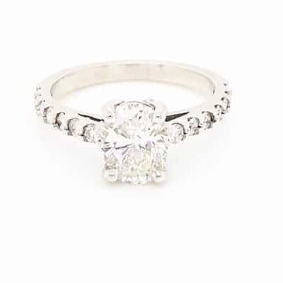 2.01 ctw. Oval Cut Diamond Ring Set In a 14k White Gold Diamond Setting