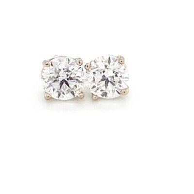 2.04 ct. Diamond Stud Earrings Set in 14k White Gold