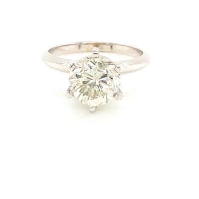 2.17 ct. Round Brilliant Cut Diamond Ring in Glittering 14K White Gold