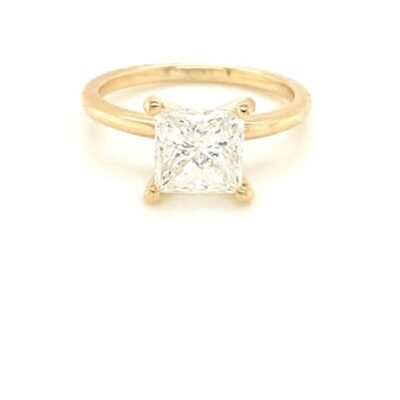 2.06 ct. Princess Cut Diamond Ring in a Dainty 4-Prong Solitaire Setting with 14K Yellow Gold