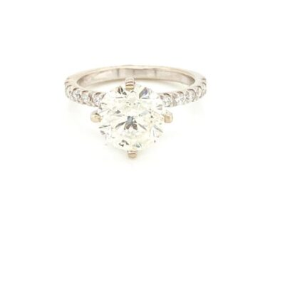 2.25 ct. Round Cut Diamond Ring in a Dainty French Pavé Setting