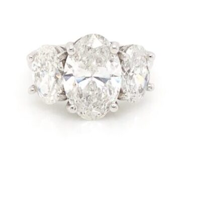 4.05 ctw. Three Stone Oval Cut Diamond Ring in 14 kt White Gold