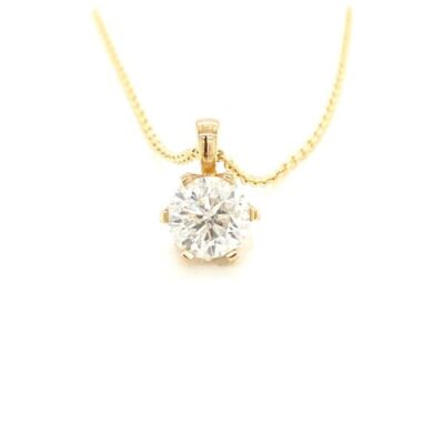 2.08 ct. Brilliant Round-Cut Diamond Pendant in a Glittering 14K Yellow Gold