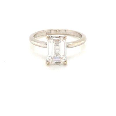 2.50 ct. Emerald Cut Diamond Ring Framed in 14K White Gold