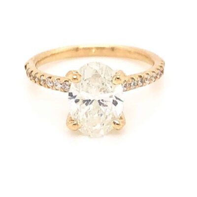 2.36 ctw. Diamond Oval Set in a 14k Yellow Gold French Pave Diamond Setting