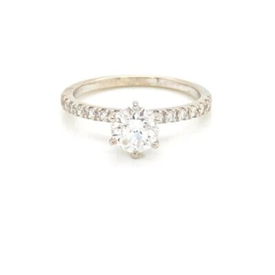 1.62 ctw. Shining Round Cut Diamond Ring with an Unforgettable French Pavé Setting