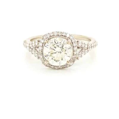 2.55 ctw. Round Cut Brilliant Diamond Ring Set in a Two Shank Diamond Halo