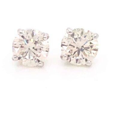 2.02 ctw. Round Brilliant Diamond Earrings set in 14k White Gold